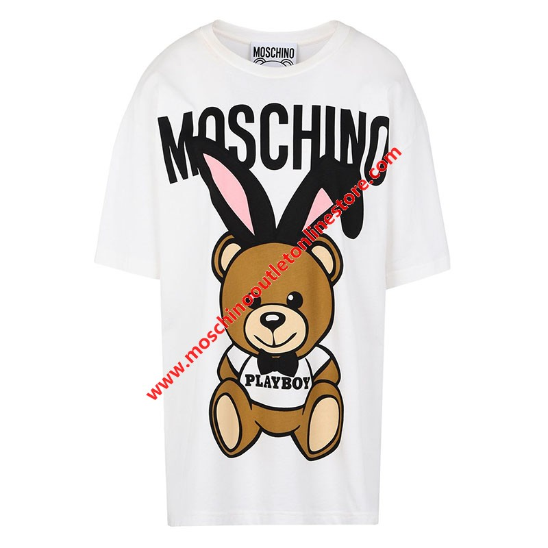 Moschino Playboy Bear Women Short Sleeves T-Shirt White