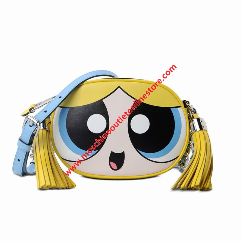 Moschino Powerpuff Girls Women Small Leather Shoulder Bag Yellow