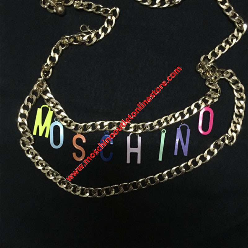 Moschino Rainbow Logo Women Chain Waist Gold