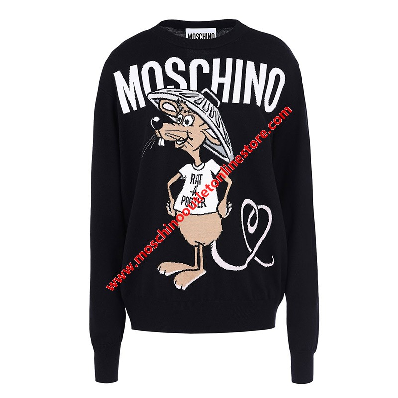 Moschino Rat A Porter Women Long Sleeves Sweater Black