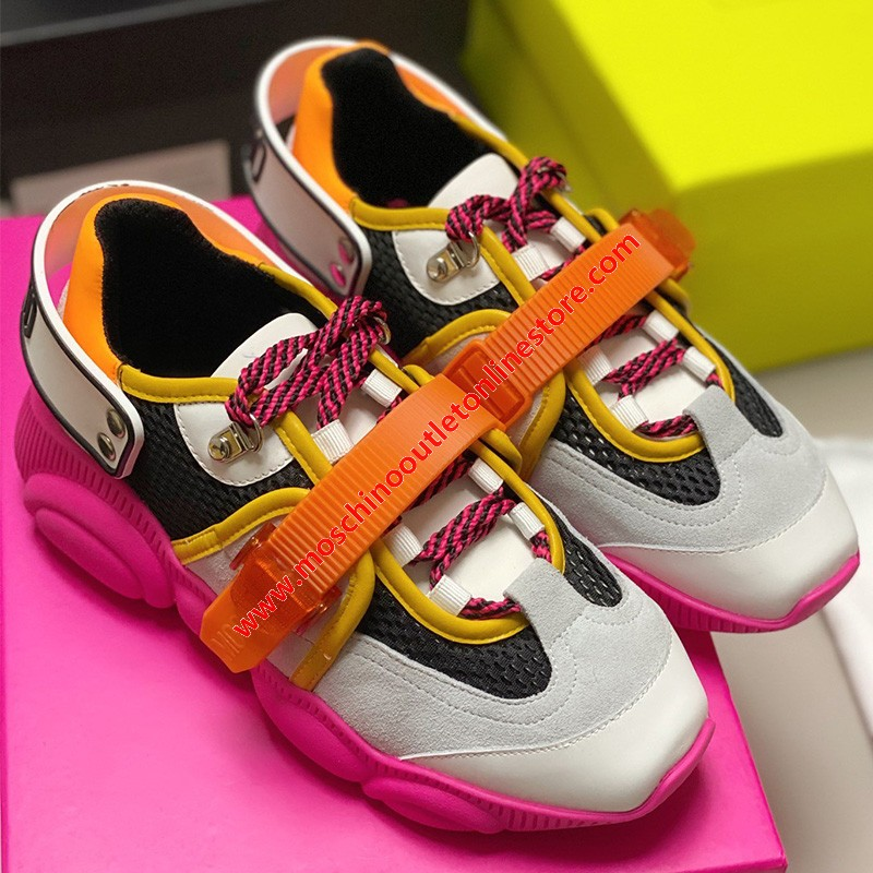 Moschino Roller Skates Teddy Sole Women Mesh Run Sneakers Rose