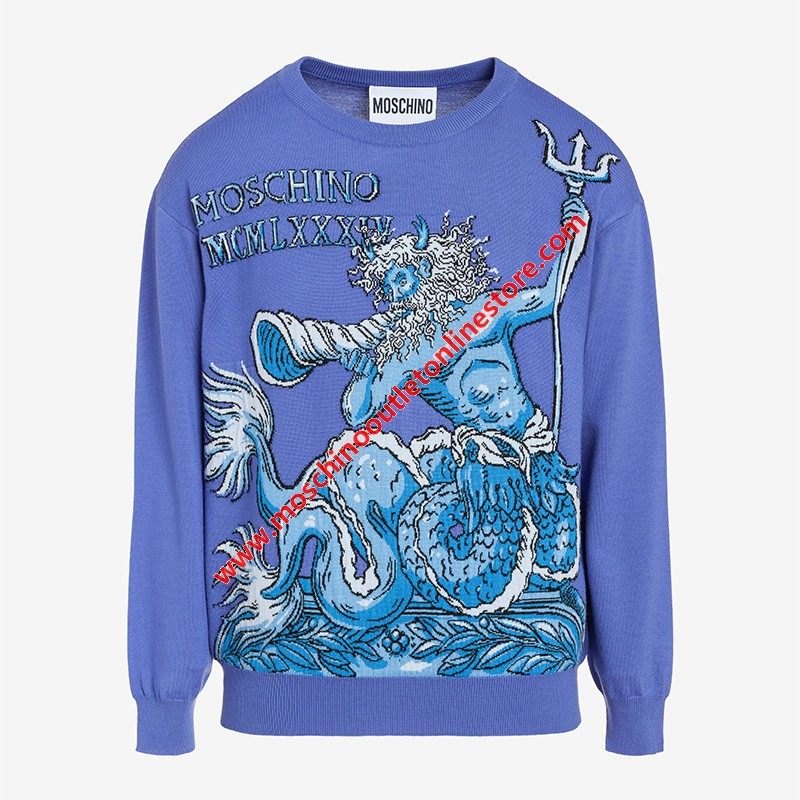 Moschino Roman Neptune Women Long Sleeves Sweater Blue