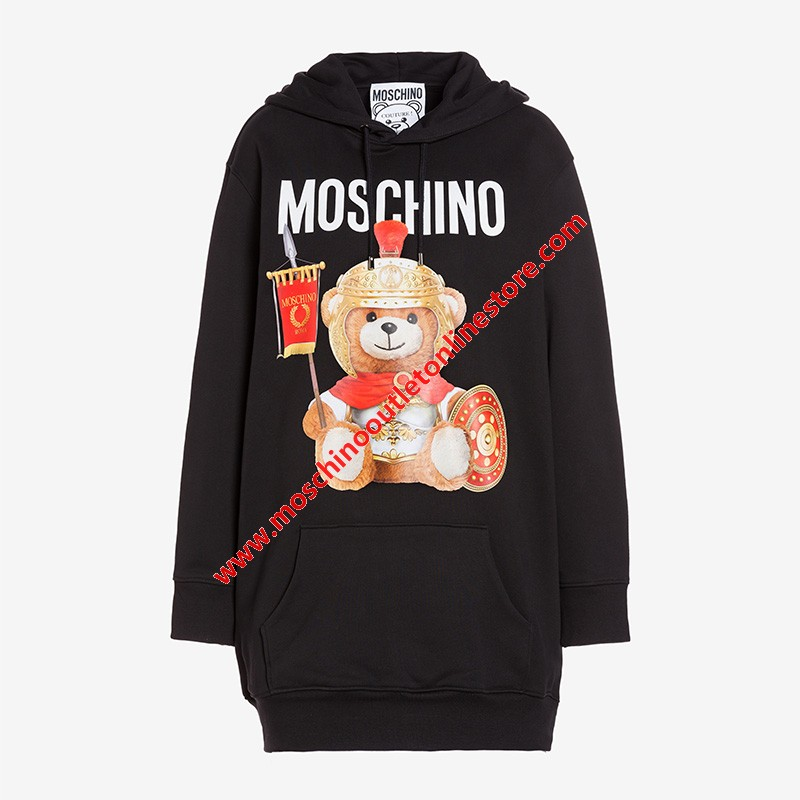 Moschino Roman Teddy Bear Women Long Sleeves Fleece Dress Black