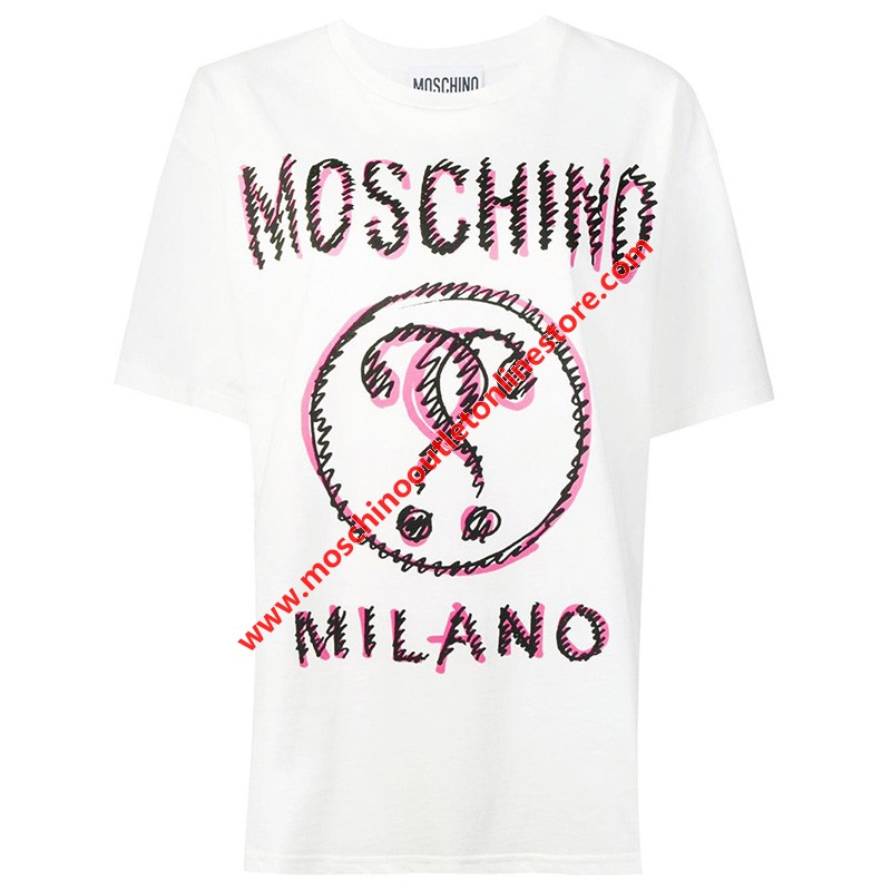 Moschino Scribble Question Women Short Sleeves T-Shirt White