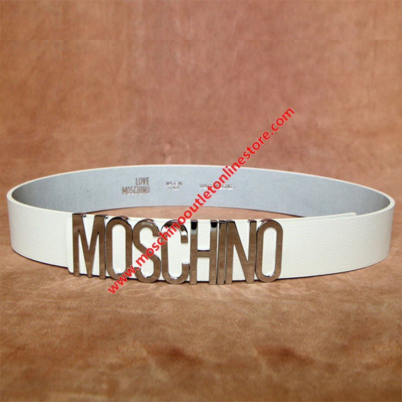 Moschino Logo Buckle Women Large Cow Leather Belt White