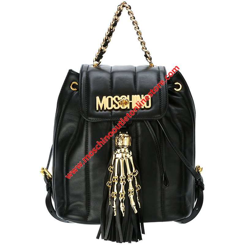 Moschino Skeleton Hand Women Small Leather Backpack Black