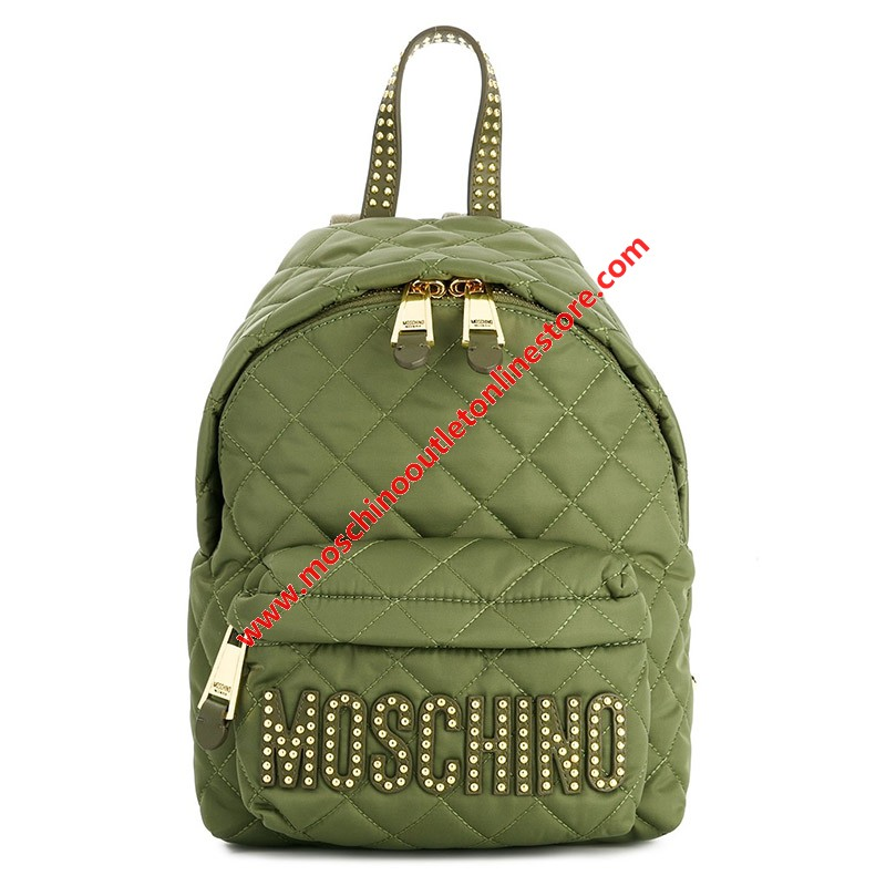 Moschino Studded Logo Women Quilted Techno Fabric Backpack Green
