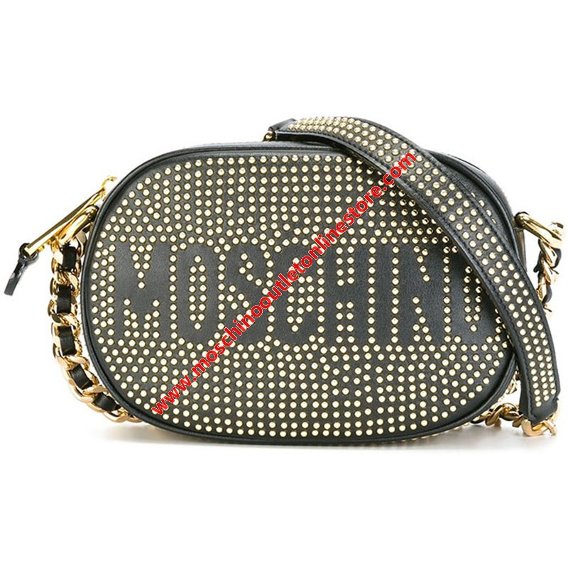 Moschino Studded Logo Women Small Leather Shoulder Bag Black
