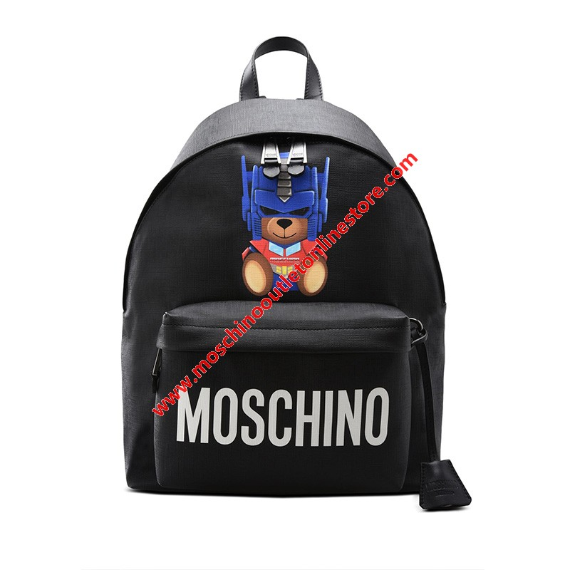 Moschino Transformer Bear Women Large Leather Backpack Black