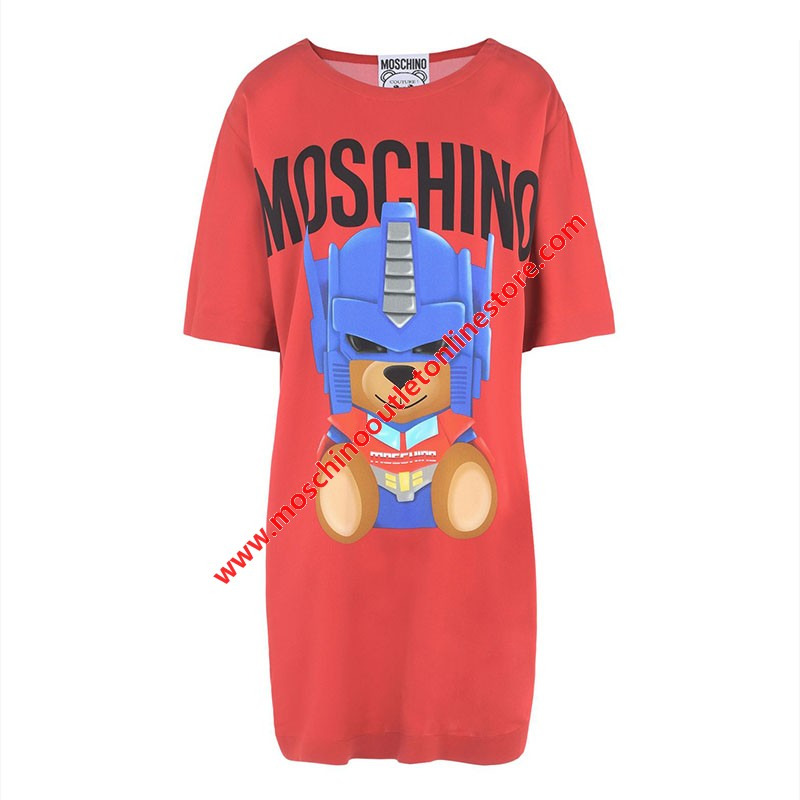 Moschino Transformer Bear Women Short Sleeves Short Dress Red