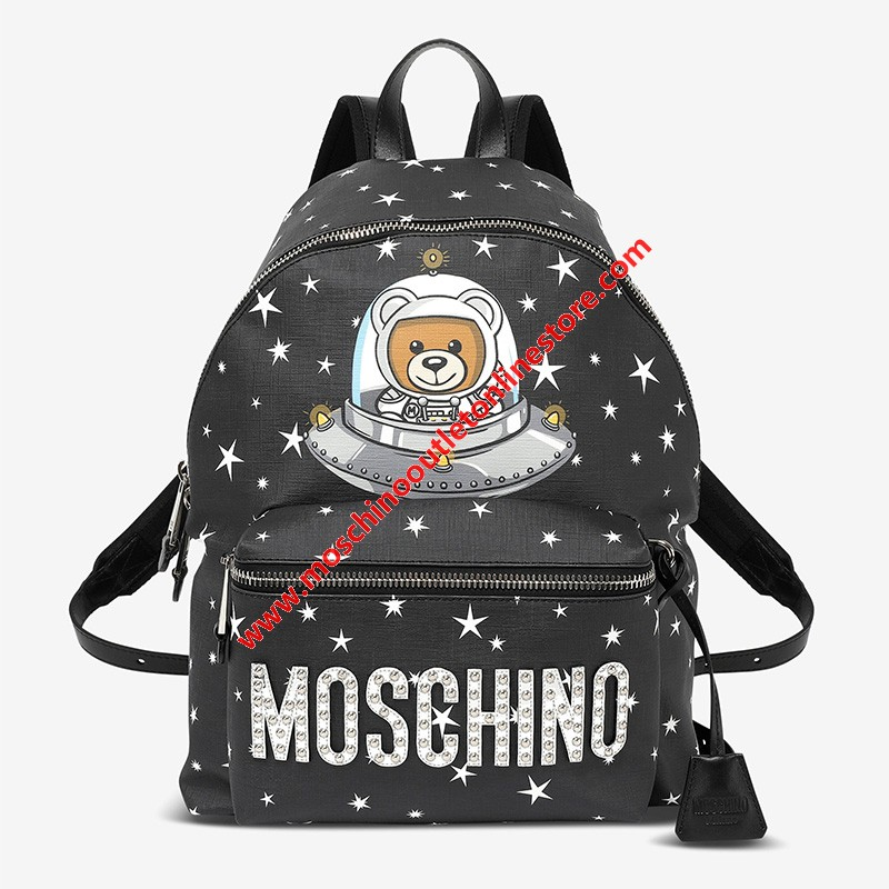 Moschino Ufo Teddy Women Leather Backpack Black