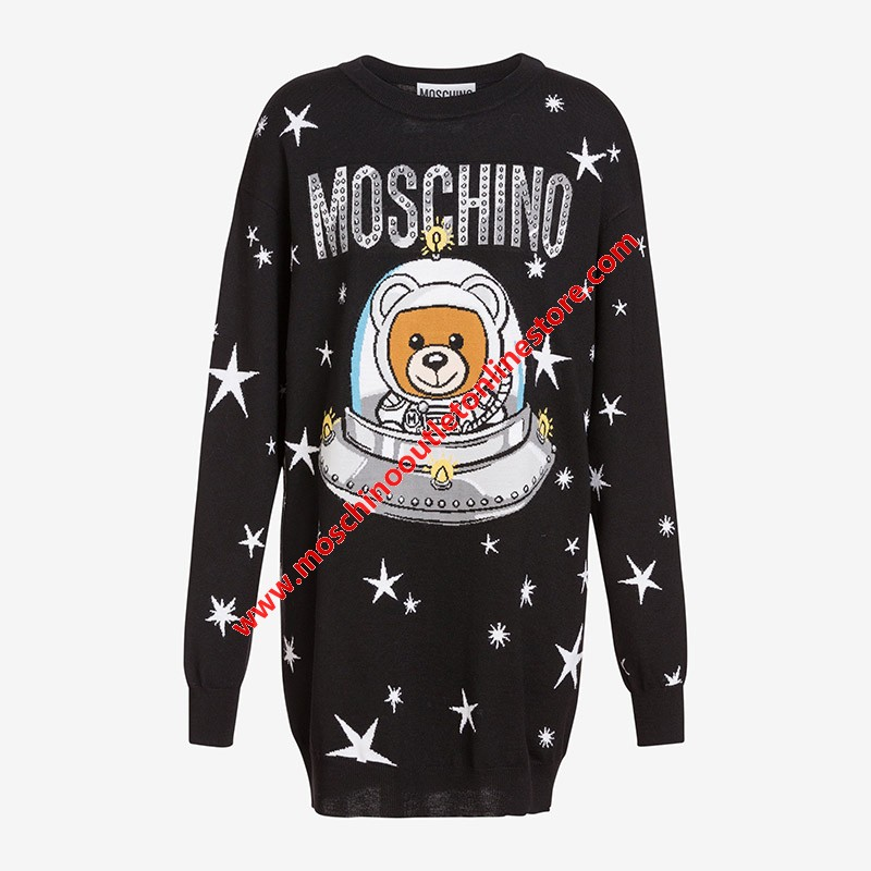 Moschino Ufo Teddy Women Long Sleeves Minidress Black