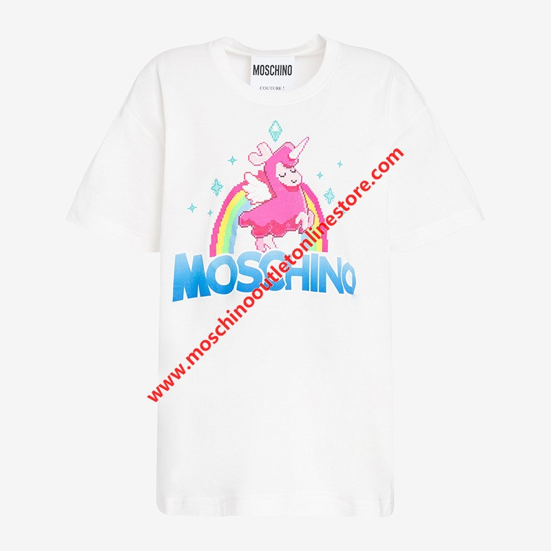 Moschino x The Sims Uni-Lama Women Short Sleeves T-Shirt White