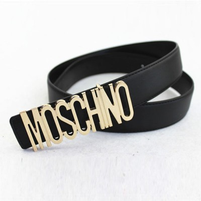 Moschino Logo Buckle Women Large Leather Belt Black
