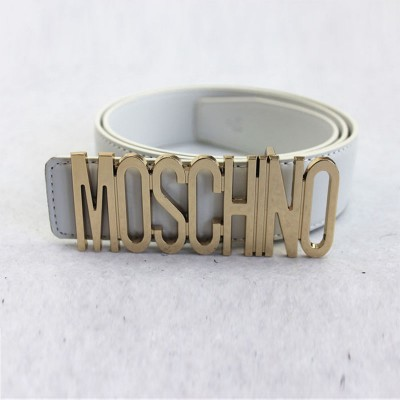 Moschino Logo Buckle Women Large Leather Belt White