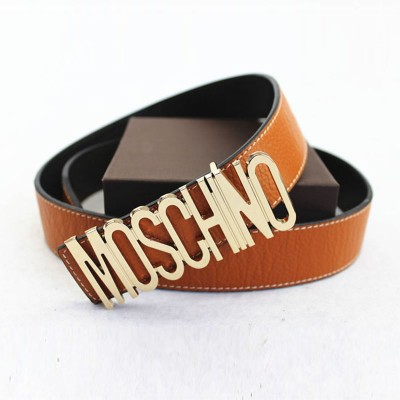 Moschino Logo Buckle Women Large Embossed Belt Amber