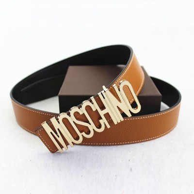 Moschino Logo Buckle Women Large Embossed Belt Brown