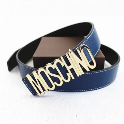 Moschino Logo Buckle Women Large Embossed Belt Navy Blue