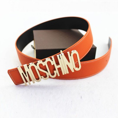 Moschino Logo Buckle Women Large Embossed Belt Orange