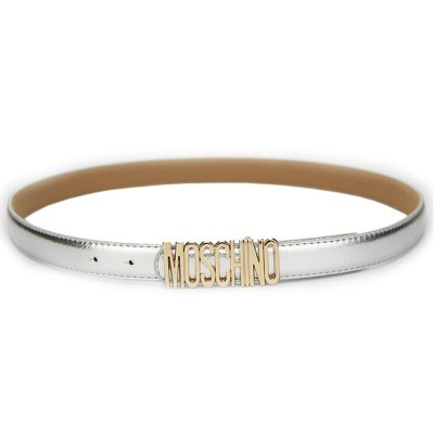 Moschino Logo Buckle Women Small Patent Leather Belt Silver