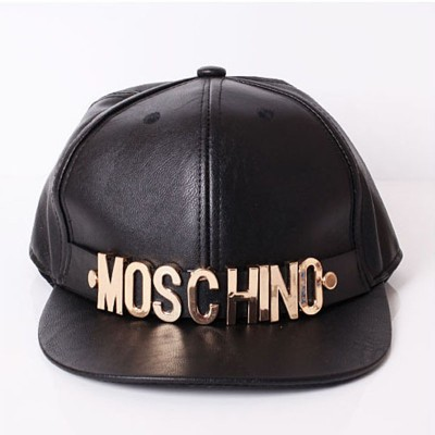 Moschino Logo Women Leather Baseball Cap Black