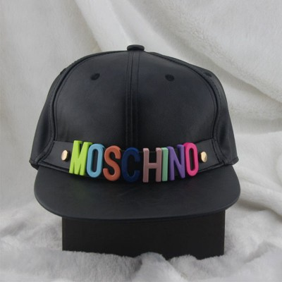 Moschino Rainbow Logo Women Leather Baseball Cap Black
