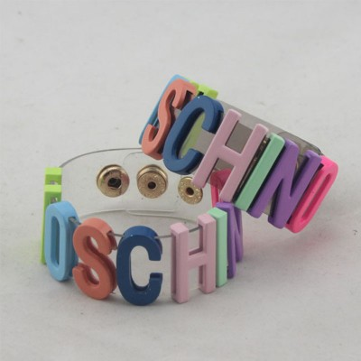 Moschino Rainbow Logo Women Transparent Bracelets