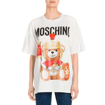 Moschino Roman Teddy Bear Women Short Sleeves T-Shirt White
