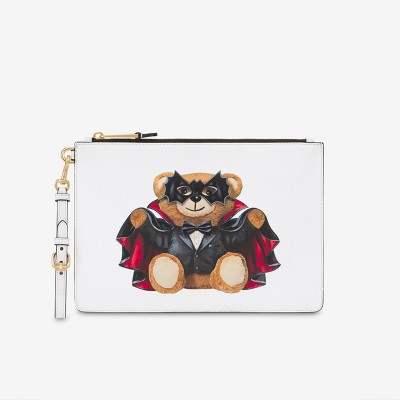 Moschino Bat Teddy Bear Women Leather Clutch White