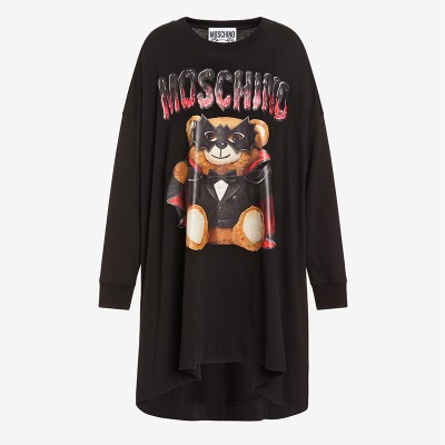 Moschino Bat Teddy Bear Women Long Sleeves Jersey Dress Black