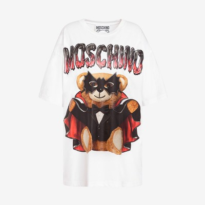 Moschino Bat Teddy Bear Women Short Sleeves T-Shirt White