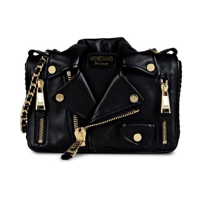 Moschino Biker Jacket Women Medium Leather Shoulder Bag Black