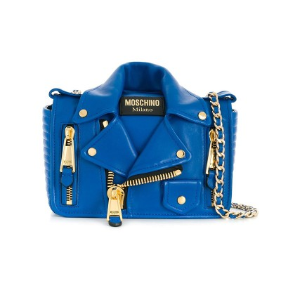 Moschino Biker Jacket Women Medium Leather Shoulder Bag Blue