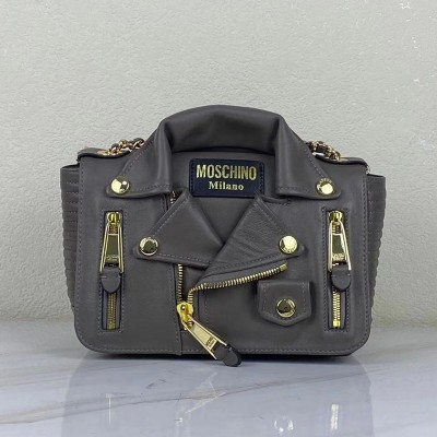 Moschino Biker Jacket Women Medium Leather Shoulder Bag Grey