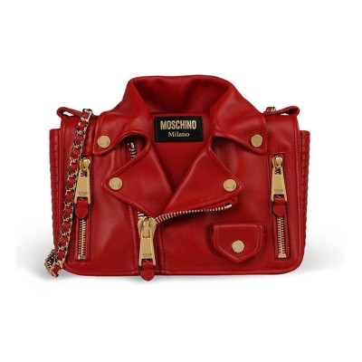 Moschino Biker Jacket Women Medium Leather Shoulder Bag Red