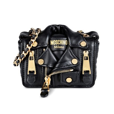 Moschino Biker Jacket Women Mini Leather Shoulder Bag Black