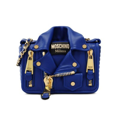Moschino Biker Jacket Women Small Leather Shoulder Bag Blue