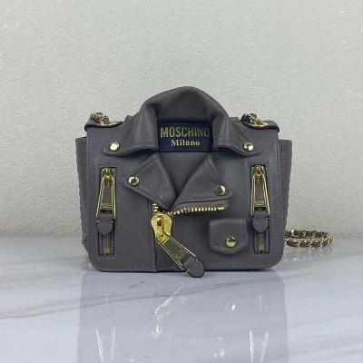 Moschino Biker Jacket Women Small Leather Shoulder Bag Grey