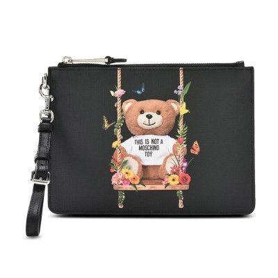 Moschino Botanical Bear Women Leather Clutch Black