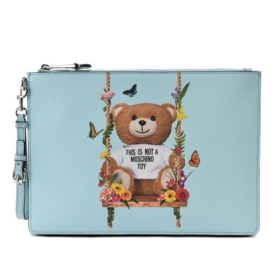 Moschino Botanical Bear Women Leather Clutch Sky Blue