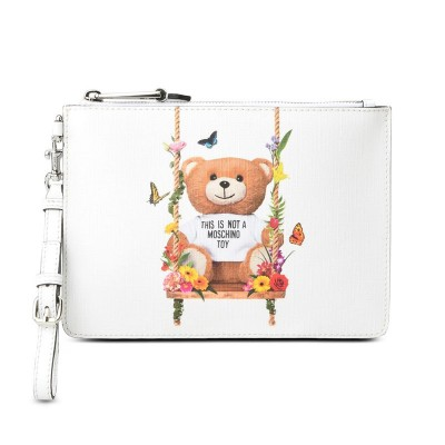 Moschino Botanical Bear Women Leather Clutch White