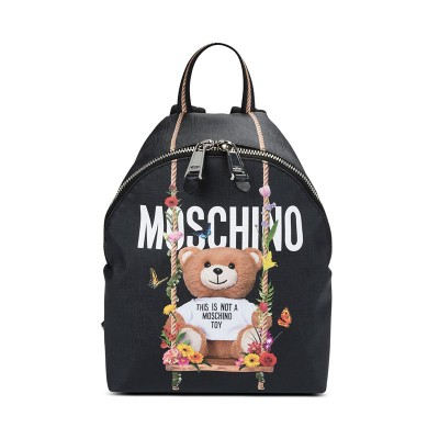 Moschino Botanical Bear Women Medium Leather Backpack Black