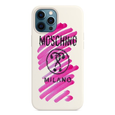 Moschino Brushstroke Question iPhone Case White