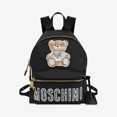 Moschino Brushstroke Teddy Bear Women Leather Backpack Black