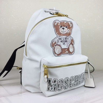 Moschino Brushstroke Teddy Bear Women Leather Backpack White