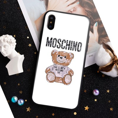 Moschino Brushstroke Teddy Bear iPhone Case White