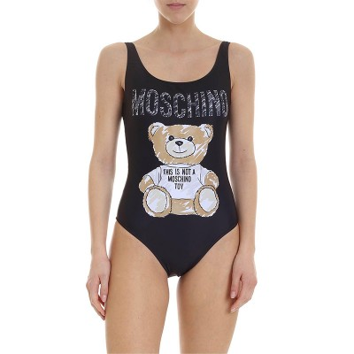 Moschino Brushstroke Teddy Bear Women Swimsuit Black