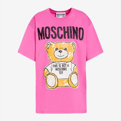 Moschino Brushstroke Teddy Bear Women Short Sleeves T-Shirt Rose