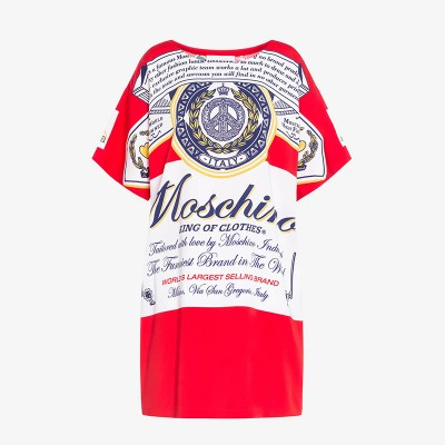 Moschino x Budweiser Women Short Sleeves Short Dress Red
