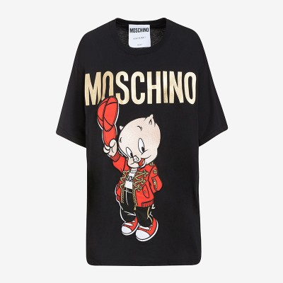 Moschino Chinese Pig Year Women Short Sleeves T-Shirt Black